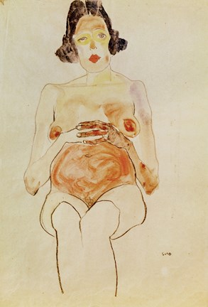 Red Nude Pregnant 1910 Fine Art Print By Egon Schiele At