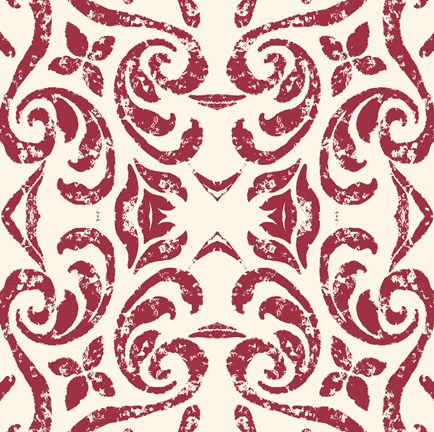 Framed Damask Red Print