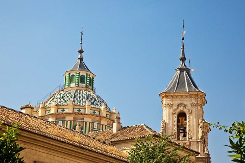 Framed Dome and bell tower of the Iglesia de San Juan de Dios, Granada, Spain Print