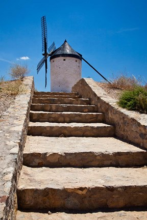 Framed Spain, Toledo Province, Consuegra Stairway to a La Mancha windmill Print