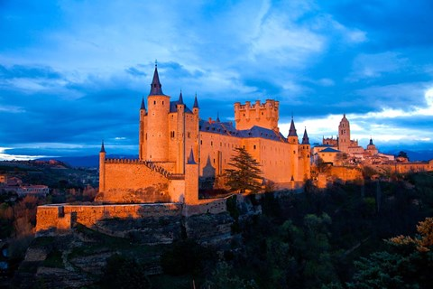 Framed Spain, Segovia Alcazar Castle at Sunset Print