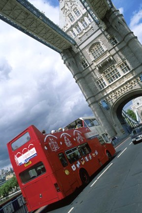 Framed Tower Bridge with Double-Decker Bus, London, England Print