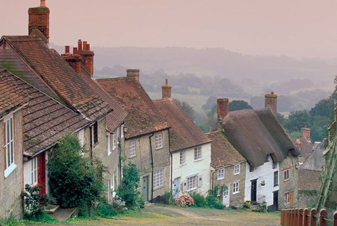 Framed Town Architecture, Shaftesbury, Gold Hill, Dorset, England Print