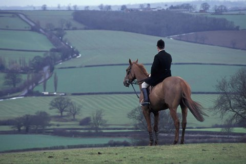 Framed Man on horse, Leicestershire, England Print
