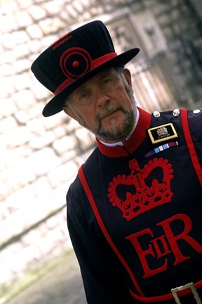 Framed Beefeater at the Tower of London, London, England Print
