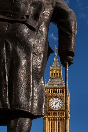 Framed Winston Churchill statue, Big Ben, London, England Print