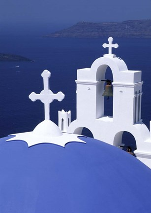 Framed Dome and Crosses of Greek Church, Santorini, Greece Print