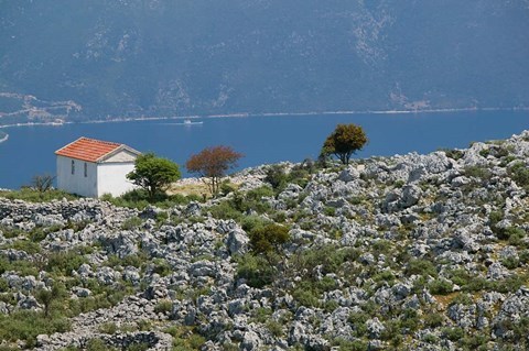 Framed Agia Sofia Church and Ithaki Landscape, Karia, Kefalonia, Ionian Islands, Greece Print