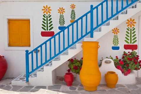 Framed Flowers and colorful pots, Chora, Mykonos, Greece Print