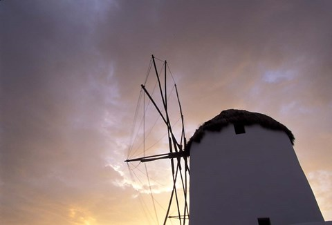 Framed Windmill at Sunrise, Mykonos, Greece Print