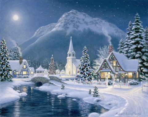 Christmas Village Fine Art Print By Richard Burns At