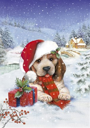 Puppy With Gift And Mistletoe Fine Art Print By Dbk Art