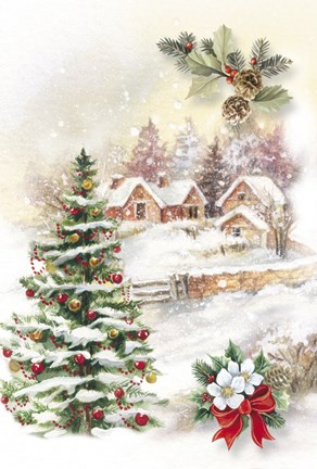christmas tree and snow village fine art print by dbk art. Black Bedroom Furniture Sets. Home Design Ideas