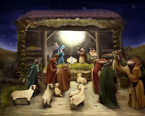 Three Kings Visit The Manger Fine Art Print By Dbk Art