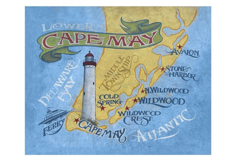 Framed Cape May Beach Map Print