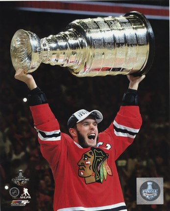 Framed Jonathan Toews with the Stanley Cup Game 6 of the 2015 Stanley Cup Finals Print