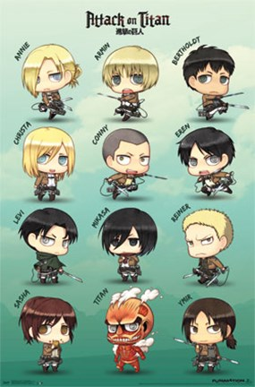 Framed Attack on Titan - Chibi Characters Print