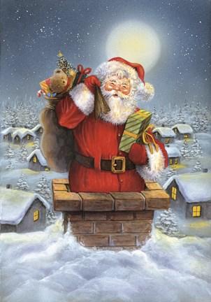 Santa Down The Chimney Fine Art Print By Dbk Art Licensing