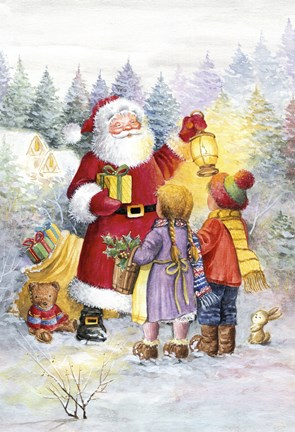 Framed Children Greet Santa Print