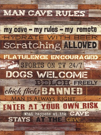Framed Man Cave Rules Print
