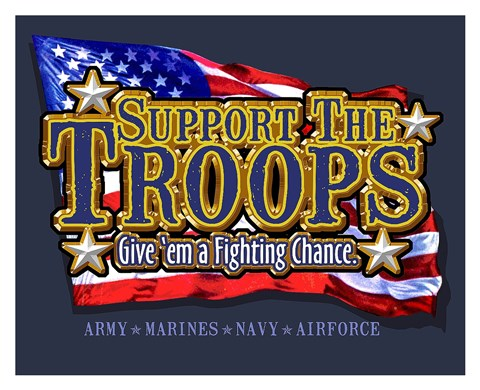 Framed Support the Troops Fighting Chance Print