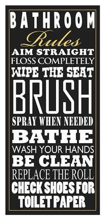Framed Bathroom Rules (Black) Print