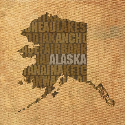 Framed Alaska State Words Print