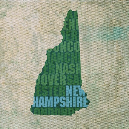 Framed New Hampshire State Words Print