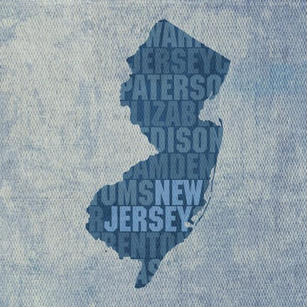 Framed New Jersey State Words Print