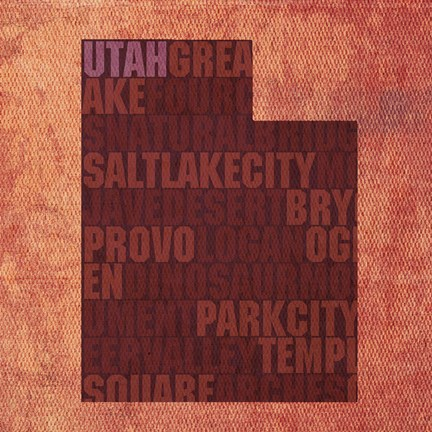 Framed Utah State Words Print