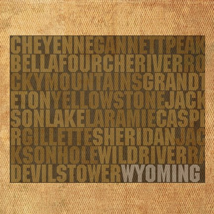 Framed Wyoming State Words Print