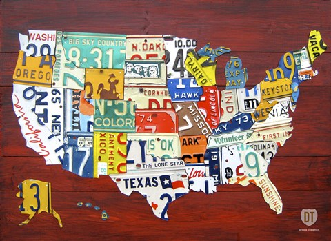 Framed License Plate Map USA I Print