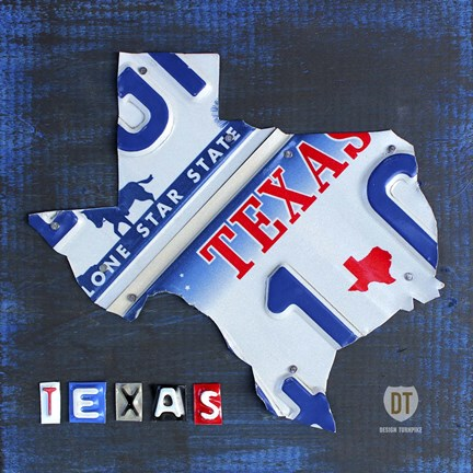 Framed Texas License Plate Map Print