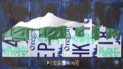 Framed Portland Skyline License Plate Art Print