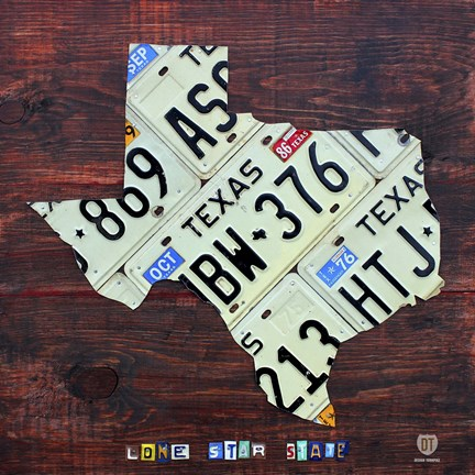 Framed Texas License Plate Map Large Print