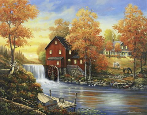 Autumn Sunset At The Old Mill Fine Art Print By John