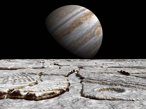 Framed Artist's concept of Jupiter as Seen Across the Icy Surface of its Moon Europa Print