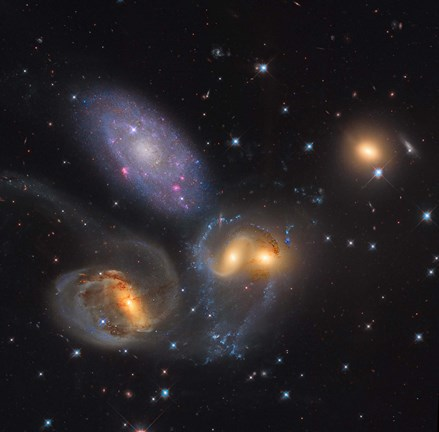 Framed Stephan's Quintet, a grouping of galaxies in the Constellation Pegasus Print