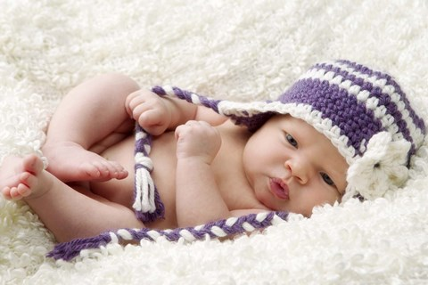 Framed Baby In Lavender And White Cap Print