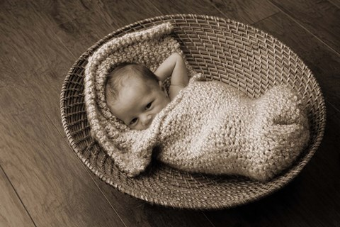 Framed Baby In Knit And Basket Print