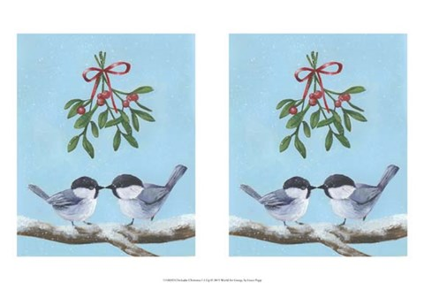 Framed Chickadee Christmas I 2-Up Print
