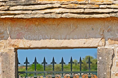 Framed Gate and Key Stone Carved with Montrachet Print