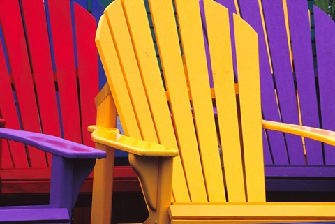 Framed Colorful Adirondack Chairs Print