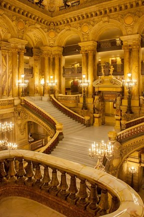 Framed Grand Staircase Entry to Palais Garnier Opera House Print