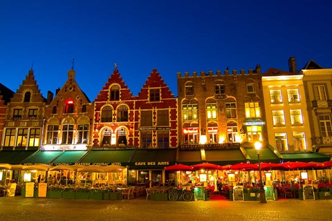 Framed Cafes in Marketplace in Downtown Bruges, Belgium Print