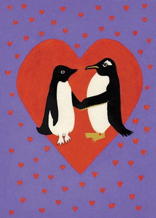 Framed Valentine Penguins Print