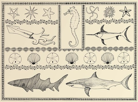 Framed Scrimshaw Sea Creatures Print