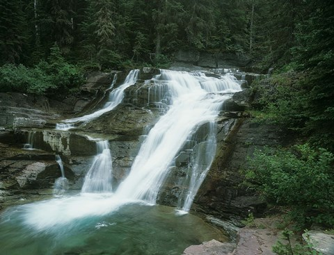 Framed Glacier National Park Waterfall 7 Print