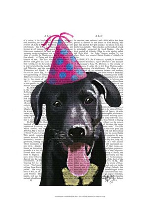 Framed Black Labrador With Party Hat Print
