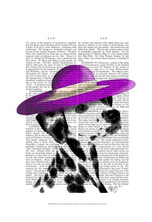 Framed Dalmatian With Purple Wide Brimmed Hat Print